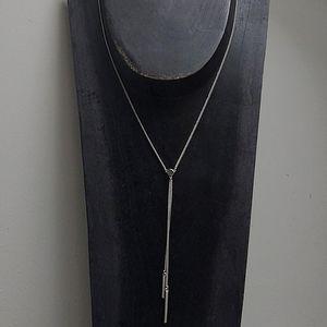 Stylish lariat bar necklace silver tone necklace